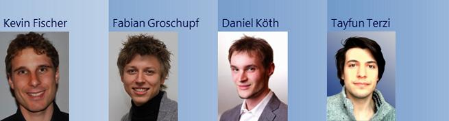 Profilfotos des Teams PsyCONNECT bestehend aus Kevin Fischer, Fabian Groschupf, Daniel Köth, & Tayfun Terzi