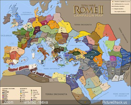 rome ii campaign map  settlements  resources  wonders  factions  etc